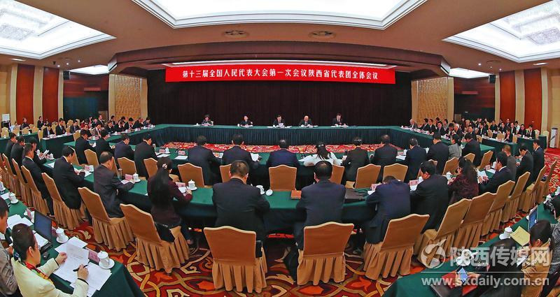 十三届全国人大一次会议的陕西代表团举行全体会议。 记者 宋红梅摄